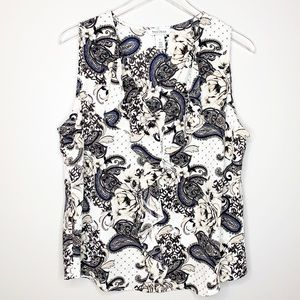 WHBM Paisley Floral Ruffle Sleeveless Top Large
